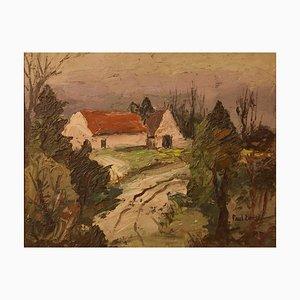 Paul Earee, granja inglesa, 1925, pintura al óleo impresionista