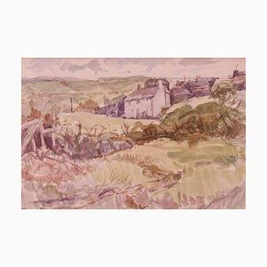 Muriel Bogenschütze, Cornish Landscape, 1950, Impressionistisches Aquarell