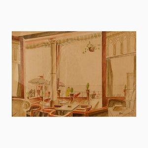 Aquarell von Cafe, Howard Bowen, 1958