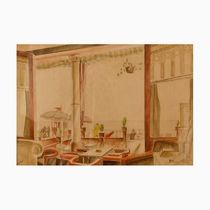 Watercolour Painting of Cafe, Howard Bowen, 1958