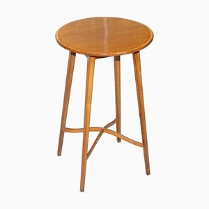 Mesa auxiliar vintage redonda de madera dura
