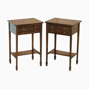 Victorian Hardwood Three-Drawer Side Tables, 1880s, Set of 2