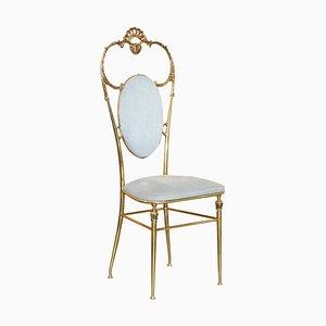 Chiavari Hollywood Regency Brass Occasional Side Chair, 1930s