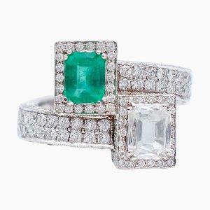 Emerald, Diamonds & 14 Karat White Gold Contrarié Ring