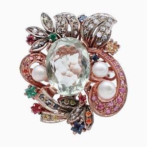 Anello in oro 9kt e argento con ametista, smeraldi, zaffiri, diamanti, perle