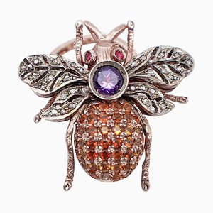 Diamonds, Amethyst, Rubies, Colored Stones, 9kt Rose Gold and Silver Fly Shaped Ring