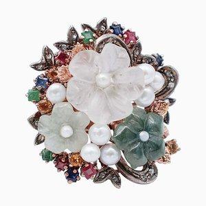 Anello retrò in oro 9kt e argento con smeraldi, rubini, zaffiri, diamanti, perle