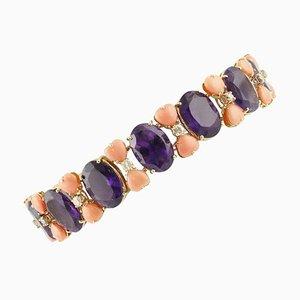 Amethyst, Pink Corals & Diamonds Link Bracelet