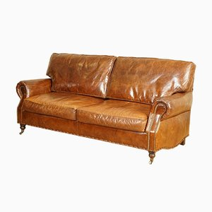 Cigar Brown Balmoral Leather Three Seater Sofa by Timothy Oulton