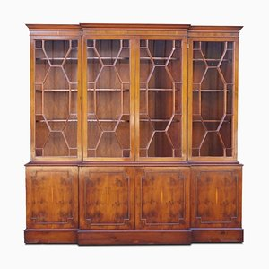 Burr Yew Wood Breakfront Bookcase with Adjustable Shelves