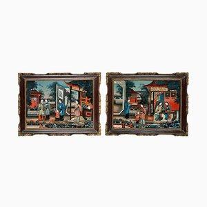 Espejo chino pintado al revés, década de 1830. Juego de 2