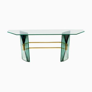 Mid-Century Console Table with Brass Support Attr. To Fontana Arte