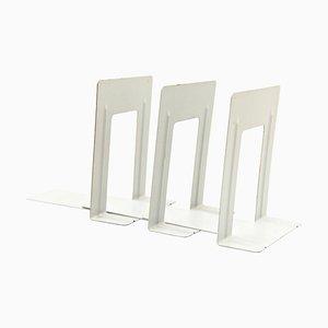 Fermalibri Bauhaus vintage in metallo laccato grigio, set di 3