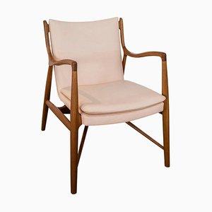 Chaise 45 en Bois et Cuir de Finn Juhl