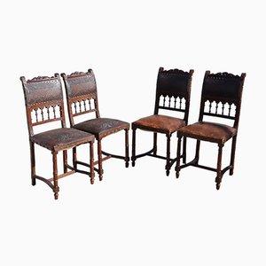 Antike französische Esszimmerstühle aus geprägtem Leder, 4er Set