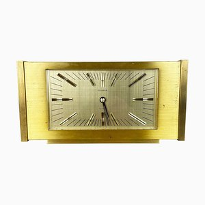 Vintage Solid Brass Hollywood Regency Table Clock from Dugena, Switzerland, 1960s
