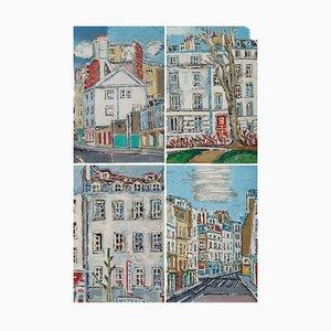 Orfeo Tamburini, Radierungen mit den Bezirken von Paris, 4er Set