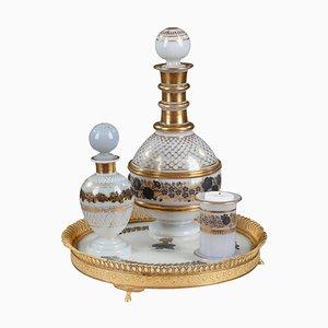 Weißes Vintage Opalglas Service mit Schwarz & Gold Dekoration, 4er Set