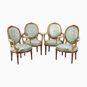 Louis XVI Armlehnstühle, 4er Set