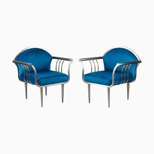 Blaue Vintage Armlehnstühle aus verchromtem Stahl, 1950er, 2er Set