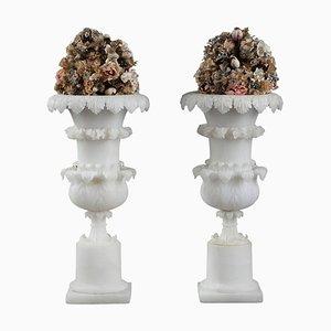 Antique Charles X Alabaster Vases, Set of 2