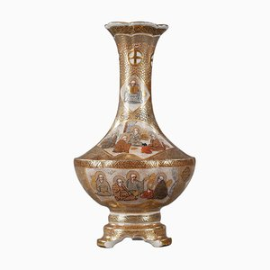 Small Tripod Satsuma Vase Decorated with the 18 Luohans, 19th Century