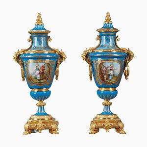 Covered Vases in Polychrome Porcelain in the Style of Sèvres, Set of 2