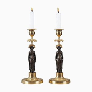 Charles X Candlesticks in Patinated and Gilded Bronze