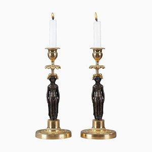 Charles X Kerzenhalter aus patinierter und vergoldeter Bronze