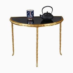 Kleiner Half Moon Tisch mit Spiegel aus Bronze im Antik-Look von Maison Baguès, 1950er