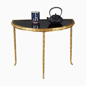 Small Half Moon Table with Bronze Aged Mirror Top from Maison Baguès, 1950s