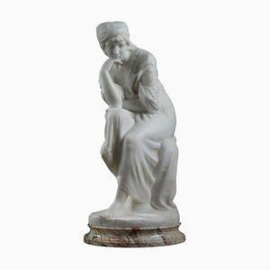 Pugi, Nachdenkliche Skulptur einer jungen Frau, weißer Marmor