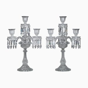 Baccarat Candelabras in Molded Crystal with 4 Lights, 19th Century, Set of 2