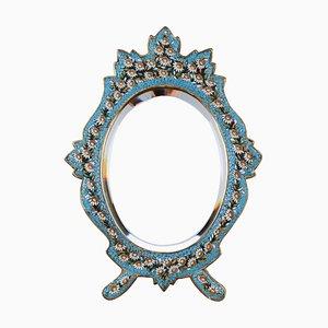 Ovaler italienischer Vintage Spiegel mit Mosaikrahmen