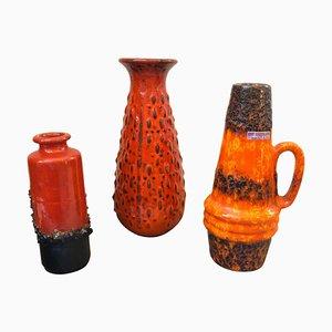 Jarrones Fat Lava islandeses Mid-Century de cerámica de Scheurich, años 70. Juego de 3