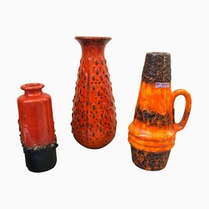Mid-Century Icelandic Modern Ceramic Fat Lava Vases from Scheurich, 1970s Set of 3