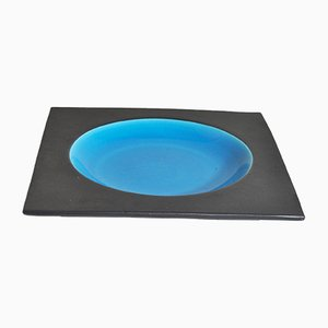 Plato de centro de mesa ornamental con técnica de cerámica esmaltada a dos hornos, años 70