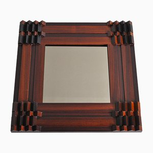 Wooden Mirror by Luciano Frigerio, 1970s