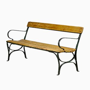 Pine Riveted Iron Park Bench,1930s