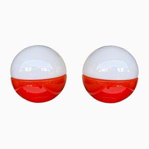 Italian Murano Glass Ball Lamps from Mazzega. 1970s, Set of 2