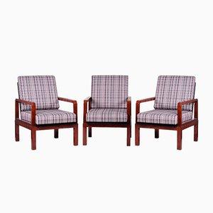 Art Deco Adjustable Rosewood Armchairs, Czech, 1930s, Set of 3