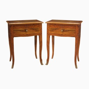 Italian Rosewood Bedside Tables, 20th Century, Set of 2