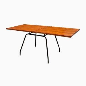 Mesa extensible italiana Mid-Century moderna de metal y madera, años 60