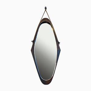 Mid-Century Italian Modern Teak Irregularly Shaped Structure Mirror, 1960s
