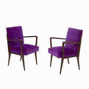 Italian Purple Velvet Armchairs from Fratelli Consonni, Set of 2