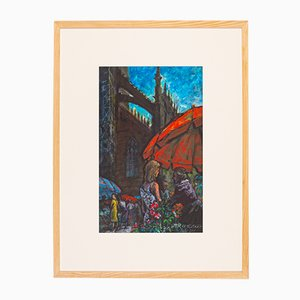 Street Scene in London, Watercolor on Paper