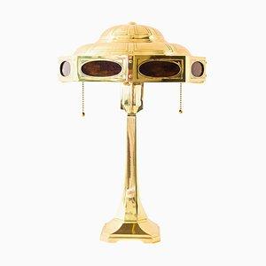 Lampada da tavolo Art Nouveu Jugendstil in ottone e vetro opalino