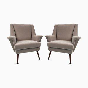 Italian Grey Mohair Velvet Armchairs, 1950s, Set of 2