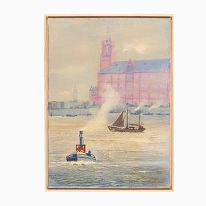 Hamburger Hafen, Öl auf Leinwand