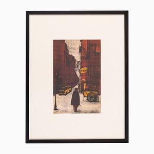 Escena de una calle de Nueva York, litografía a color